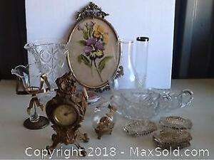 Lot Vintage Glass And Crystal And Clock