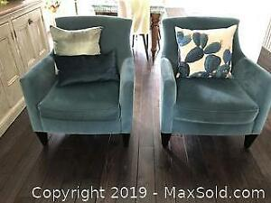 Two Teal Blue Crate and Barrel Velvet Armchairs - B
