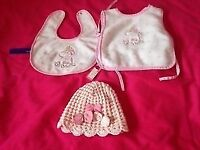 BABY GIRL NEXT PINK HAT & 2 BIBS