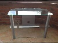 Glass Television Stand with Silver Legs ideal for 32 Inch TV