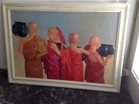 Large oilpainting, 100 x 70 cm, Buddhist Monks, Myanmar, Serenity, Meditation