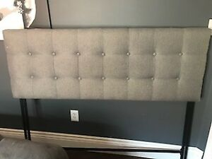 Queen Size Fabric Headboard Light Grey Colour