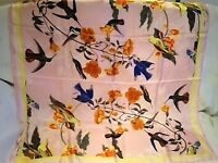 PRETTY PASTEL PINK BIRD & FLOWER PRINT 100% SILK SCARF/SHAWL