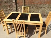 Black Granite Kitchen Table and 4 chairs
