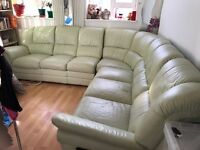 "Leather Corner Suite 3pc - 71"", 58.5"", 72"" with 2 side recliners"