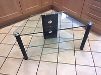 Three Tier Clear Glass TV Stand