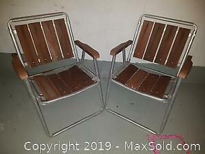 Wooden Aluminum Pair of Lawn Chairs
