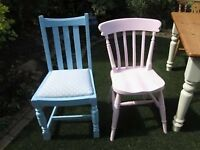 Kitchen /dinning chairs in baby blue and pink