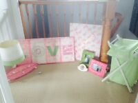 Girls Bedroom Accessories (Pink and Green)