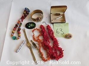 Vintage Jewelry lot, coral, mosaic, 14k gold overlay