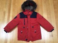 BOYS RED PARKA COAT age 5-6