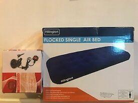 Single air mattress with air pump (brand new in box)