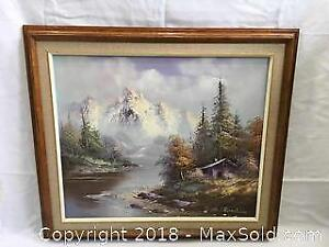 Large Oil On Canvas Painting Mountain Scene