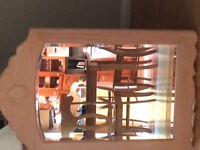 Beautiful large bevelled oak mirror