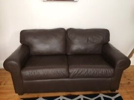 Ikea brown leather 2 seater sofa, excellent condition, has been in storage
