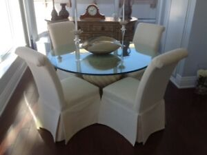 Glass Dining Room Set with Four Chairs
