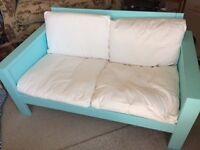 Cute Ikea sofa- wooden frame turquoise