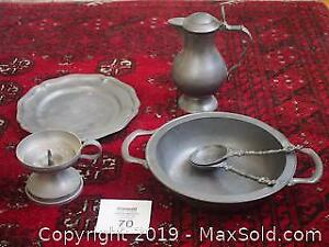 Pewter Pitcher, Plates, Bowl, Serving Spoons, Candle Stick