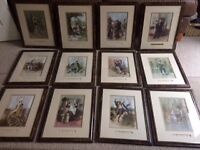 Collection of 12 Charles Dickens Characters Framed Illustrations