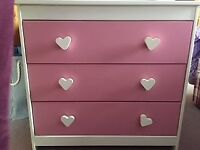 Pink and white girls wardrobe & 2 chests of drawers
