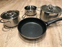Saucepan set by Neff, still boxed, unused, 3 pans, 2 with glass lids and 1 fry pan