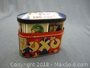 Vintage Oxo Tin with Antique Cigarette Cards -A