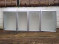 Ikea Kitchen cabinet 'Faktum'. 4 glass doors with glass shelves. Excellent condition