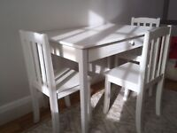 Children Desk and Three Chairs. Great Little Trading Company. White.
