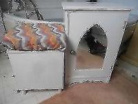 BATHROOM CUPBOARD AND STORAGE BOX WHITE - 45cm WIDE + 70cm HIGH { 45CM X 45CM LININ BOX