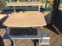 Reduced for quick sale - modern compact desk in beech and silver