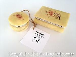 2 vintage, hand carved Alabaster boxes with cherry blossom motif. B