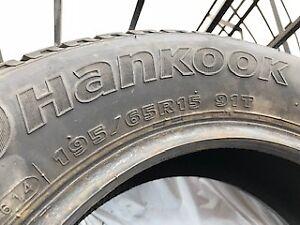 "Pneus d'hiver 15""  Hankook 195/65R15 91T IPIKE TRÈS bon état"