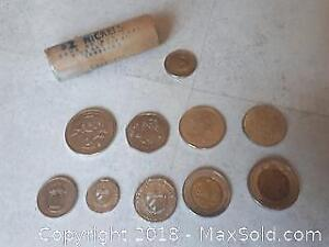 Coins from Around the World with 1967 Rabbit Nickels