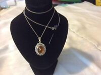 NEW Sterling Silver Pentant with topaz coloured stone on silver chain