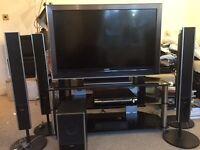 "Sony Bravia 47"" Television including Sony Sound Surround System & Glass TV Table"