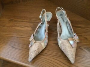 Just reduced! Gorgeous cork and sheer Dress Shoes, Size 10W