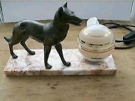 ART DECO LAMP, WITH GERMAN SHEPHERD DOG ON MARBLE BASE