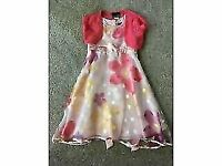 Lovely pretty pink floral party dresses with pink lacey shrugs - size 6 & 7 years