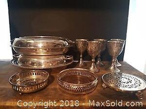 Silver Plated Wine Trivets, Goblets, Etc.