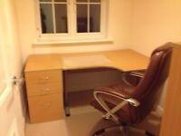 Desk, pedestal filing cabinet & shelves