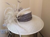 WEDDING/RACES HAT. WORN FOR ONLY TWO HOURS. MADE TO MY OWN DESIGN BY PROFESSIONAL MILLINER