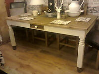 LARGE SOLID PINE FARMHOUSE DINING/KITCHEN TABLE WITH 2 DRAWERS