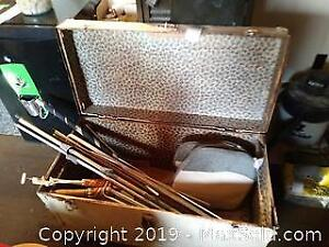 Steamer Trunk And Curtain Rods C