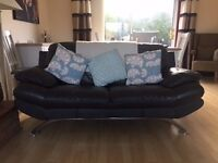 DELUXE CHARCOAL LEATHER SOFAS, 3 SEATER & 2 SEATER WITH MATCHING FOOTSTOOL