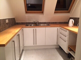 Unused Howdens Kitchen Cabinets In Glendevon White With Sink And Wooden Workt