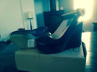 New Next Peep toe wedges black size 37/4 £25
