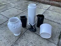A selection of black and white house plant pots and vases in VG condition