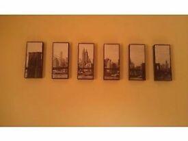 Split Photo (6 panel) of New York, Brooklyn Bridge (black and white)