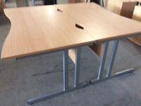 2 rectangle double wave front beech desks