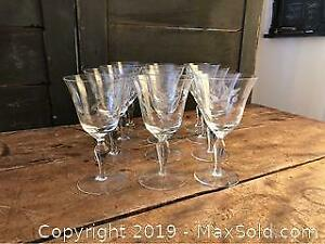 Twelve Holly Berry Etched Wine Glasses